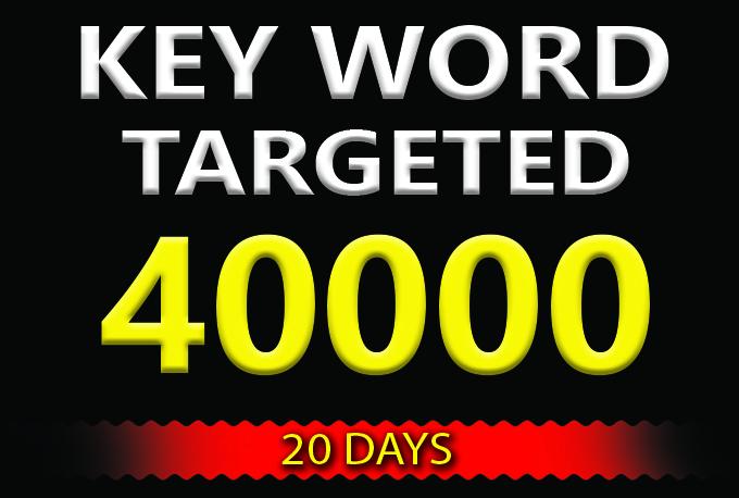 drive 40000 KEYWORD targeted visitors website traffic for 20 days