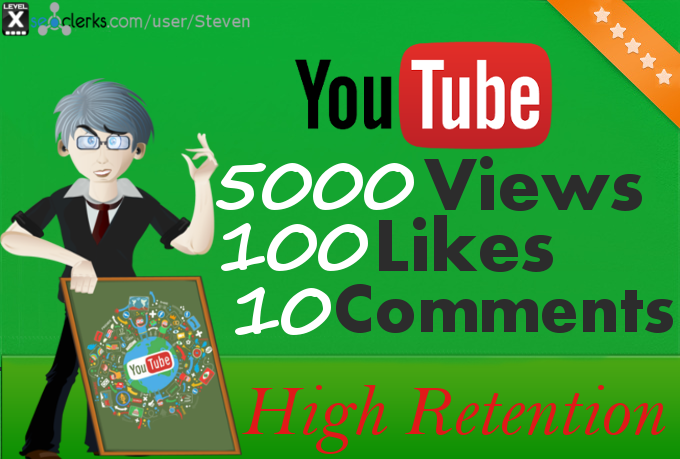 5000 YouTube Views, 100 Likes and 10 Comments to your video