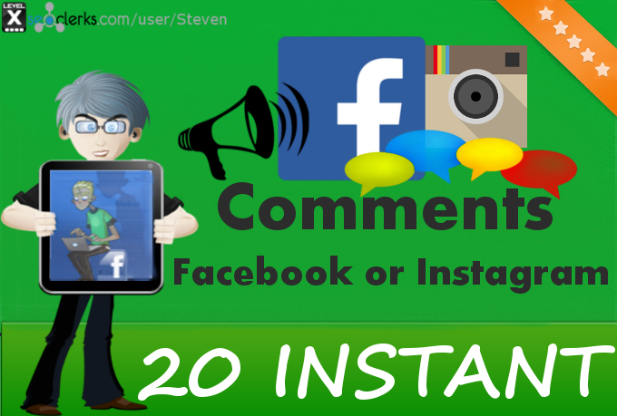 Add 20 Instagram or Facebook Comments INSTANTLY to your photo or status or video