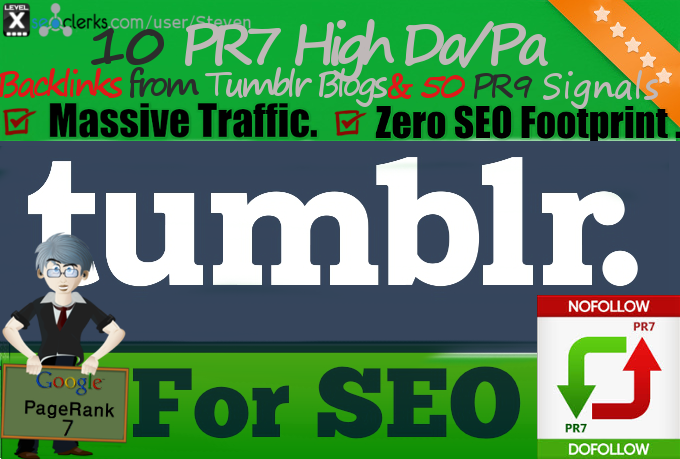 10 High DA/PA PR7 Tumblr Backlinks & 50 PR9 Signals on Authority PA 30+ to 35+ Pages improve your SEO and Page Rank now