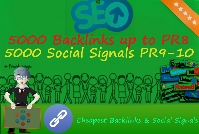 Add 5,000 Backlinks up to PR8 + 5,000 Social Signals from PR9-10 Websites to increase your rank and SEO
