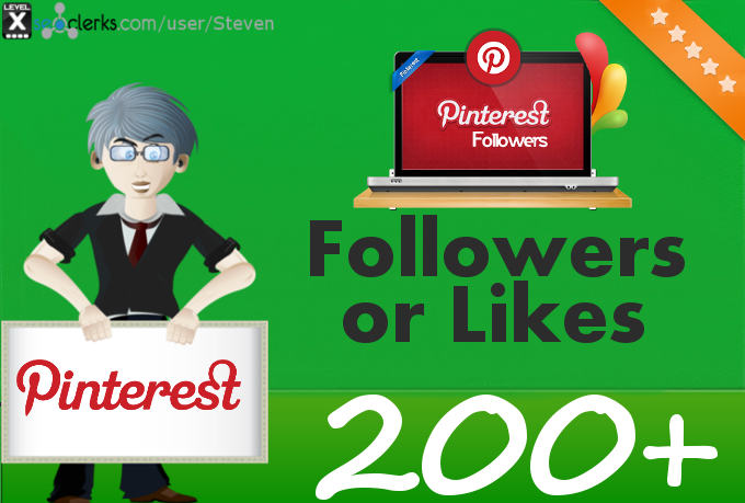 Add 200 Pinterest Followers or Pin Likes to your profile or pin