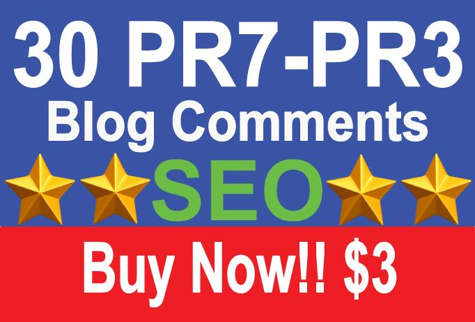 30 Dofollow Blog Comment Backlink Pr7 to PR3