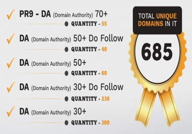 55 PR9 - DA (Domain Authority) 70+ Backlinks