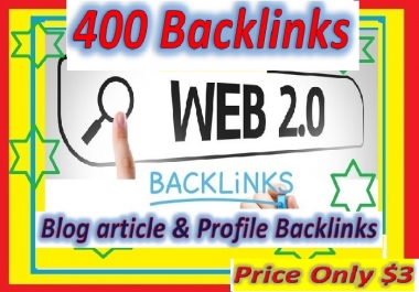Will Provide 400 Web 2.0 High PR Backlinks for your website ranking
