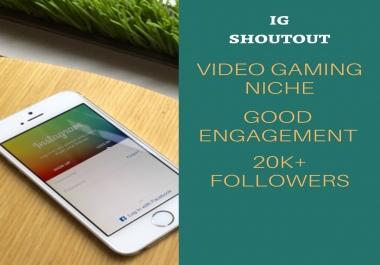 gaming niche instagram shoutout