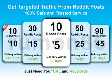 Boost your website Traffic and Ranking by 10 Reddit posts