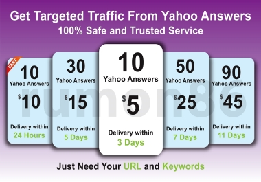 Promote your website in 10 Yahoo Answers with Clickable link