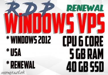 VPS RDP Windows 6 Core CPU 5 GB RAM 40 GB SSD FOR SEO TOOLS