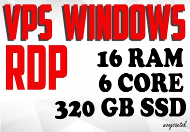 Windows VPS RDP 16 GB RAM 6 CPUs 320 GB SSD