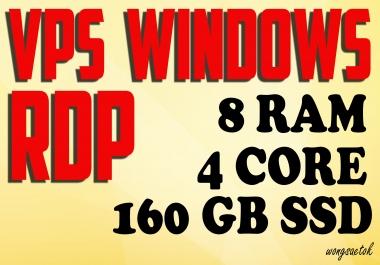 VPS Windows RDP 8GB RAM 4 Core 160GB SSD