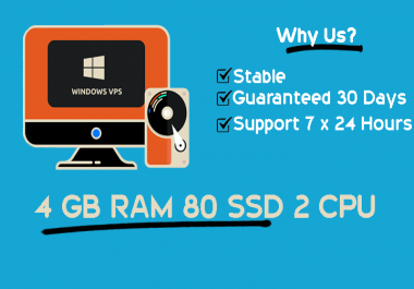 Stable Windows RDP VPS 4GB RAM 2vCPUs Guaranteed 30 days