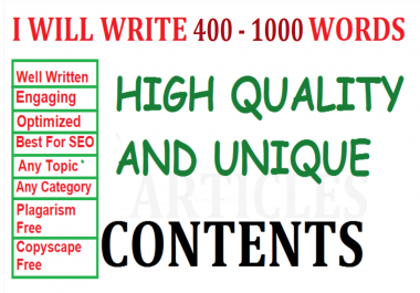 I'll write 400 - 1000 WORDS SEO unique contents or articles for your website/blog. Pro Writer