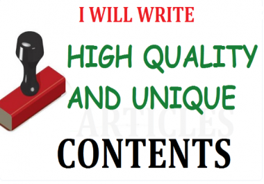 I will write Unique Articles/Contents for your Site or Blog (Offline too). SEO Friendly Pro Writer