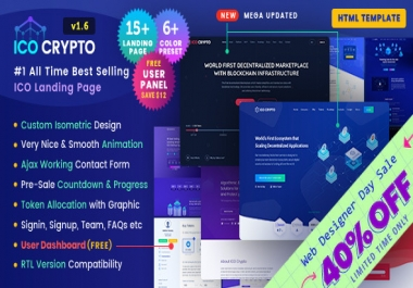 FULL WEBSITE ICO CRYPTO HTML + USER CENTER + PSD + TOKENSALE PAGE