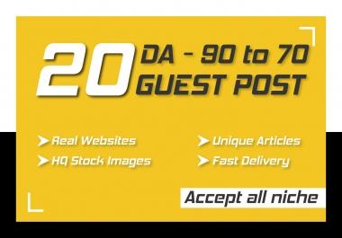 Publish 20 Permanent High DA Guest Posts with 100 percent Indexing guarantee