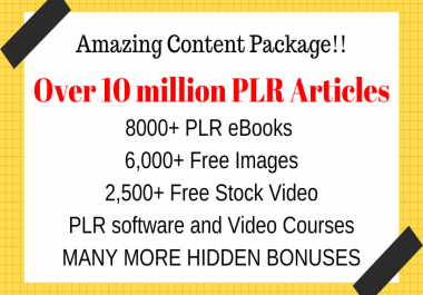 Get Over 10 Million PLR Articles, eBooks, Book Covers, Video Training, Bonuses and Giveaways
