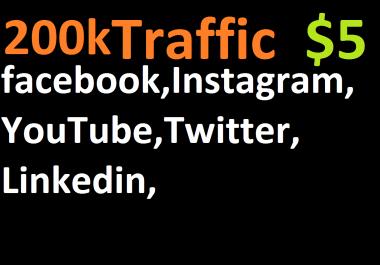 200,000 boost website real targeted web traffic facebook,instagram, youtube, twitter, linkedin