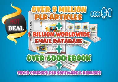 9 Million Plr Articles 6,000 ebooks And Bonuses