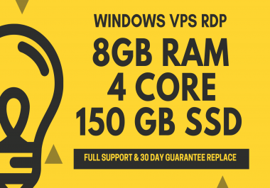 Windows VPS RDP 8GB RAM 4Core 150GB SSD