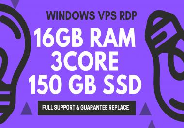 Windows VPS RDP 16GB RAM 3CORE 150GB SSD