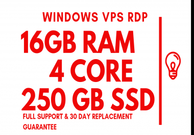 VPS Windows RDP Server 16GB RAM 4Core 250GB SSD