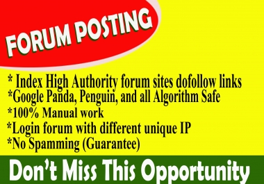 Provide 90 forum posting spam score 5 below dof0llow backlinks on high DA30+