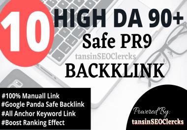 I Will Manually Create 10 HIGH QUALITY DA 90+ Best Ranking Pr9 Safe BACKLINK