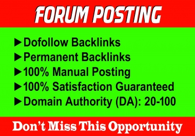 Manually 50 Forum Posting SEO Backlinks for Google Ranking.