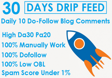 I will Do 30 Days Drip Feed 10 Do-Follow Blog Comments Backlinks