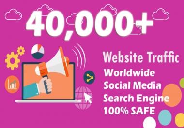 40,000 boost website keyword real organic targeted web traffic facebook, instagram, youtube, twitter