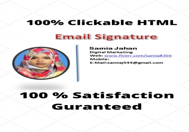 100% Clickable Best Quality HTML Professional Email Signature