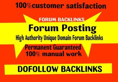 Provide 70 doFollow Forum posting backlinks on High DA Site