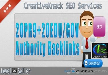 20+ PR9 Backlinks with 20+ .EDU/.GOV Authority Backlinks only