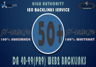 50+ High Authority DA 40-99 Web 2 Backlinks only
