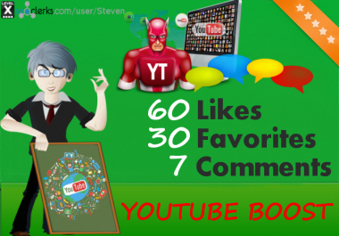 Cheap YouTube - 60 Likes, 30 Favorites and 7 comments for $1