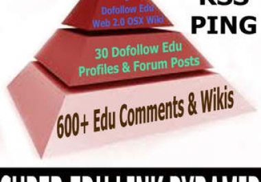 build three tiers edu gov link pyramid with 660++ links in total, each submitted to rss and pinger sites, article spinned for free