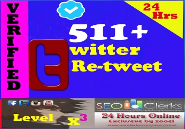 High Quality 511+ Twitter Retweets or favorites or Fo... for $1