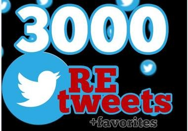 """will give you 3000+ RETWEETS and favorites from 3000+ unique profile having """"400,000"""" followers Instant service"""