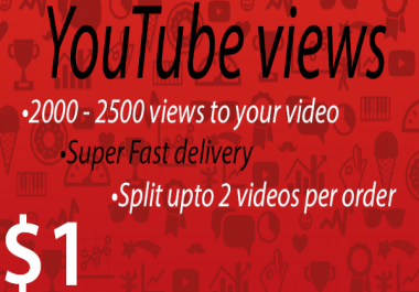 2000 - 2500 views to your Youtube video [Super Fast delivery]