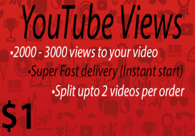 2000 - 3000+ High Quality Youtube Vie ws Fast delivery