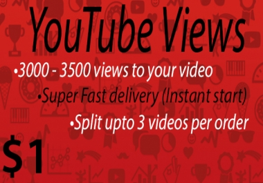 3000 - 3500 views to your Youtube video [Super Fast delivery]