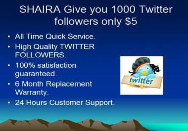 Provide  you 200+  Twitter followers in less then 24 ... for $1