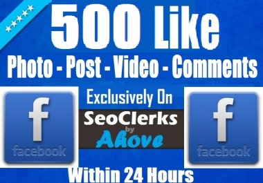 Add Instant 500 FB Likes In Photos, Posts, Status, Videos, Albums