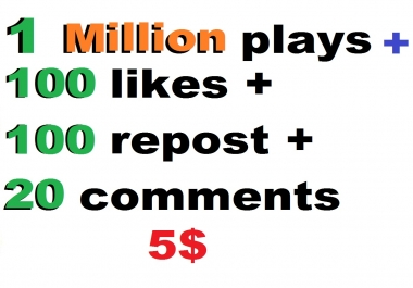 1 million soundcloud plays and 200 likes and 200  repost and 20 comments