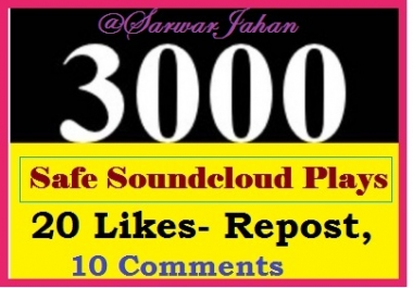 Add 3000 Motivational Plays and 20  Real stable Likes... for $1