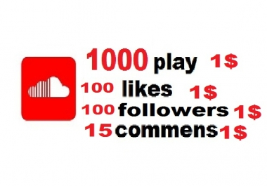 add 100 soundcloud likes or followers or repost or 15... for $1
