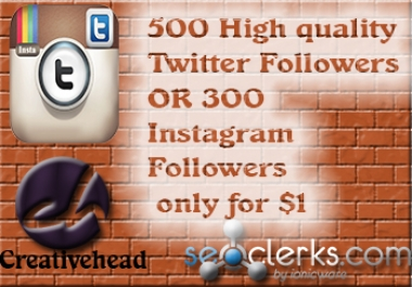 Will add High Quality 500 Twitter Followers,retweets,favorites or 300 Instagram Followers,likes only