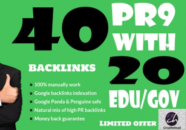 40 PR9 Backlinks and 20 .Edu/.Gov Backlinks only