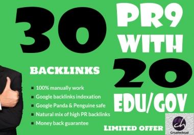 30 PR9 Backlinks and 20 .Edu/.Gov Backlinks only